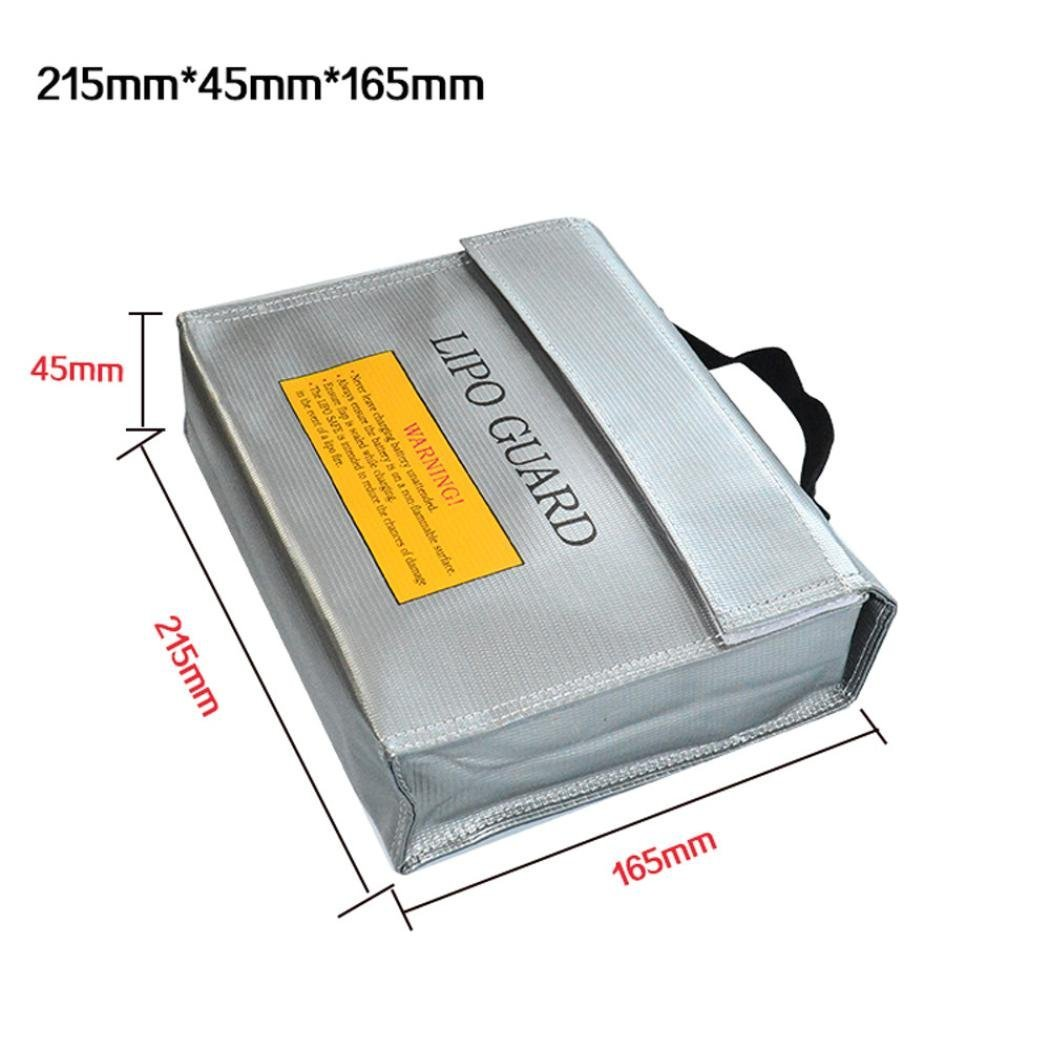 Gbell Li-Po Battery Fireproof Blast-proof Storage Case, Lithium Battery Guard Safe Bag 215×45×165MM/240×64×180MM (A)