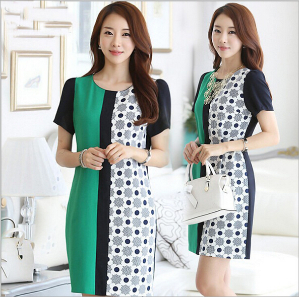 EY0108D Contrast business woman dress formal ladies office wear dresses dress for party