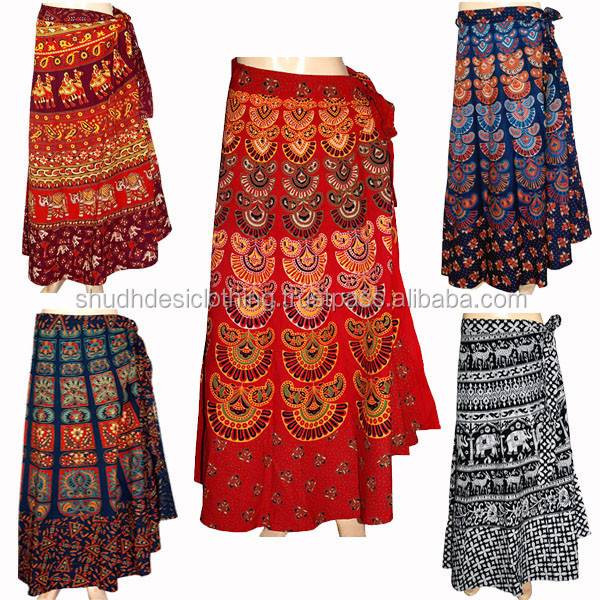 Beautiful Floral Cotton Skirts / Floor Length Long Wrap Skirt for Beach Special