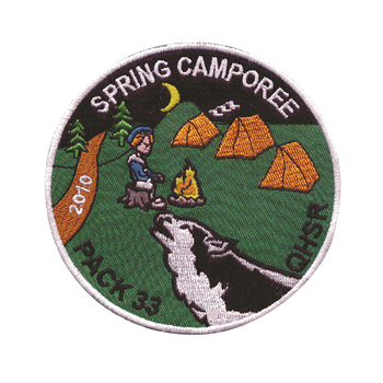 custom Iron on spring camp 100% embroidery patch for clothing