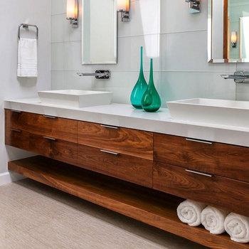 45 Inch Wall Hang Under Counter Sink Solid Wood Bathroom ...