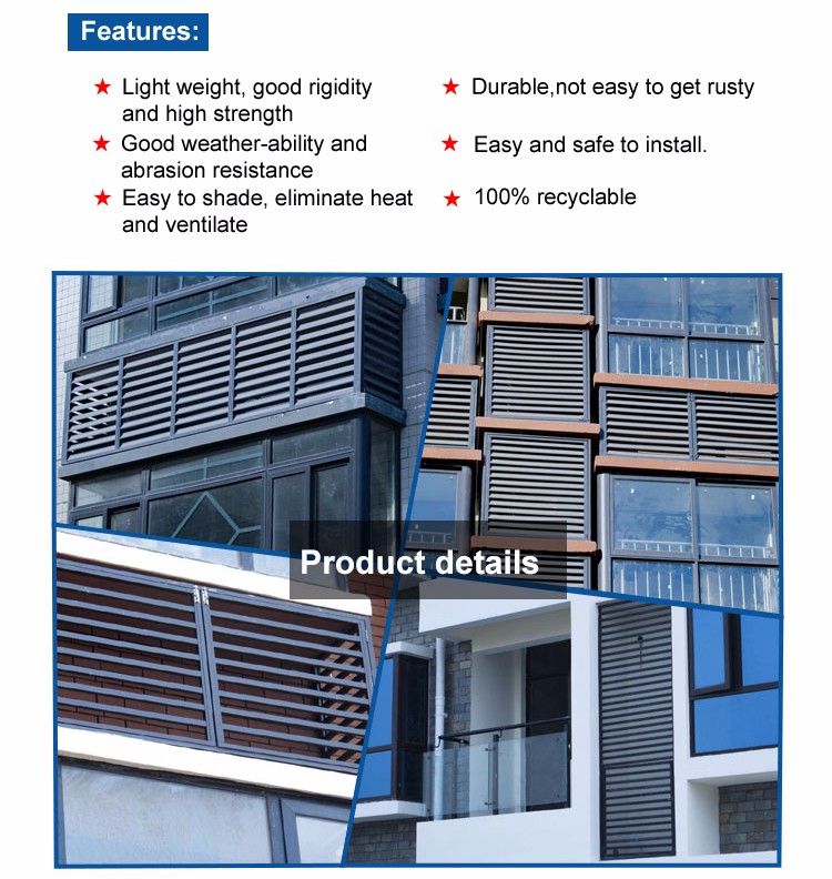Good Weather ability Exterior Aluminum Louver for Building Decoration
