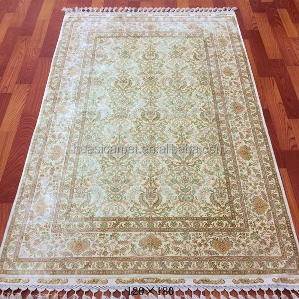 white turkish 4x6ft silk persain style hand knotted silk ziegler rug