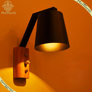 American Simple Style Wall Light Retro Design Wall Source Indoor Wooden Wall Lamp