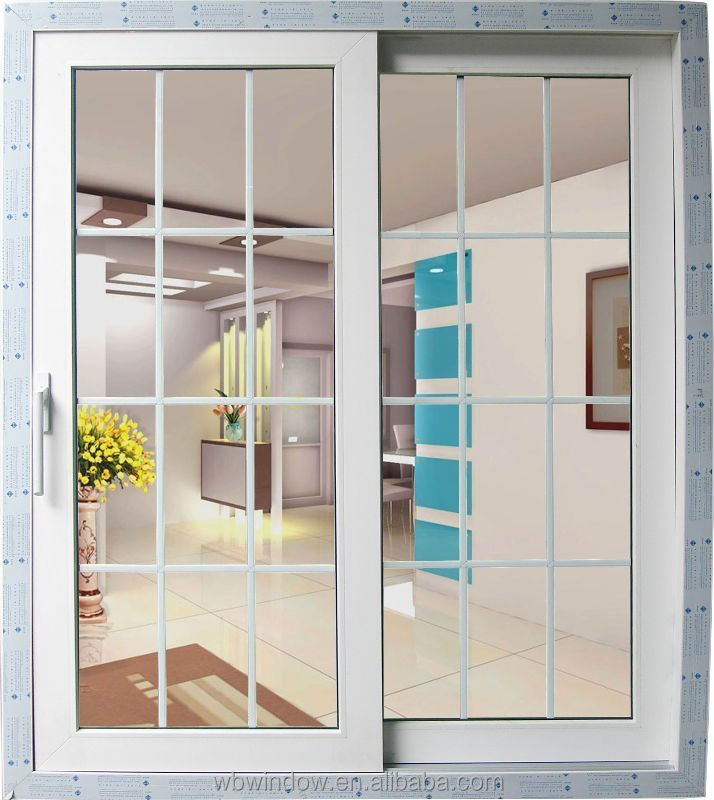 Favorable price of upvc sliding window grill design upvc for Plastic french doors
