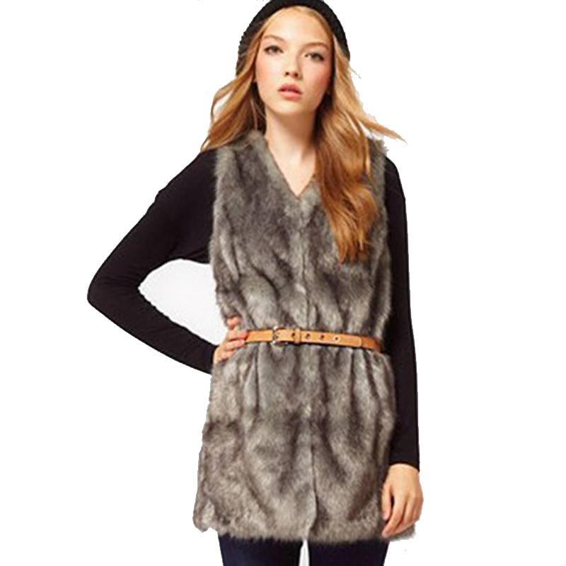 c70a8630cb3 Women Brown Plus Size Faux Fur Vest Special Slim long fuax fur Coat women  XXL Gilet
