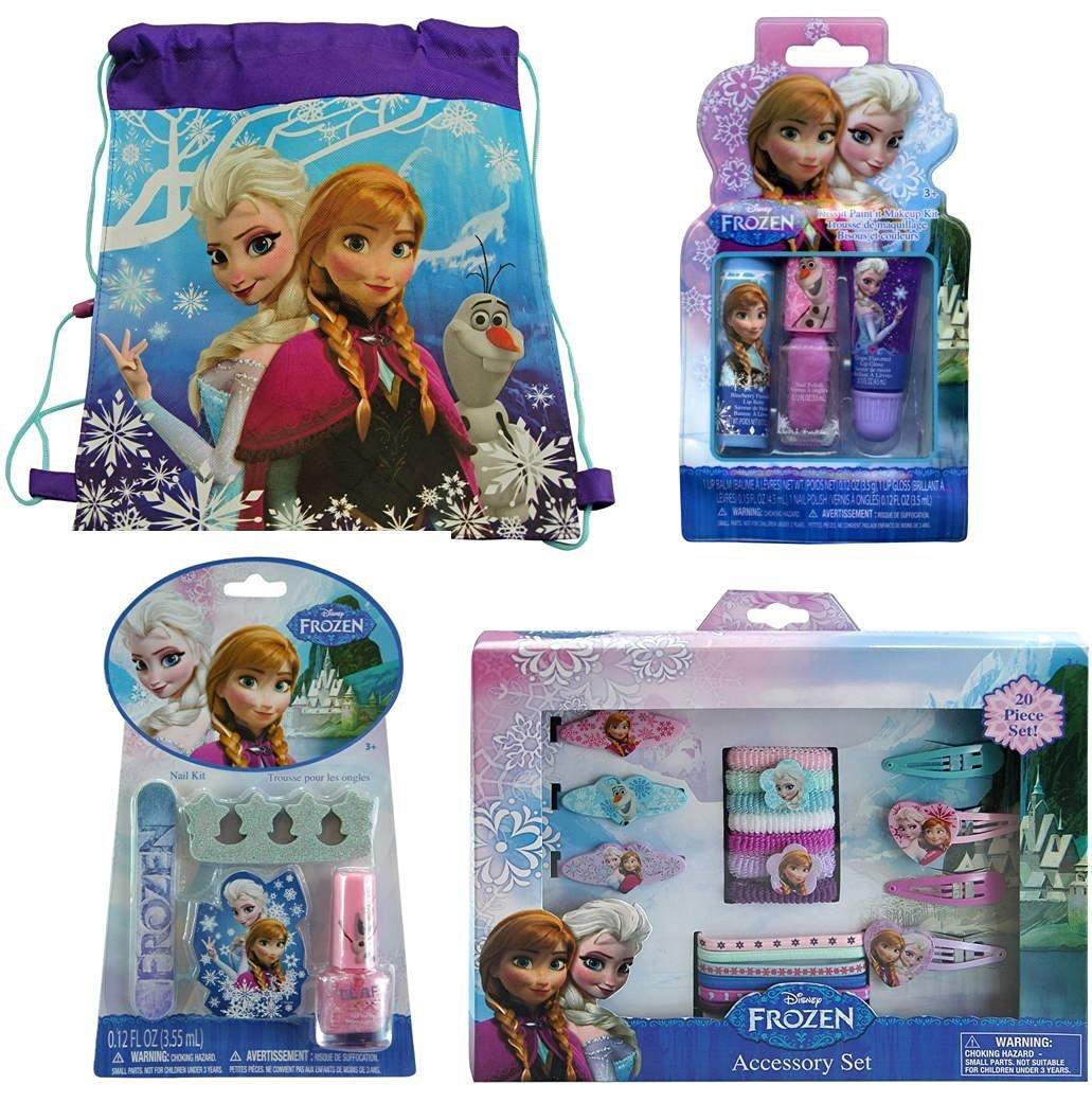 Disney Frozen Non-woven Nylon Sling Bag with Disney Frozen 20 Piece Hair Accessory Set, Disney Frozen Kiss It Paint It Makeup Kit and Disney Frozen Nail Kit
