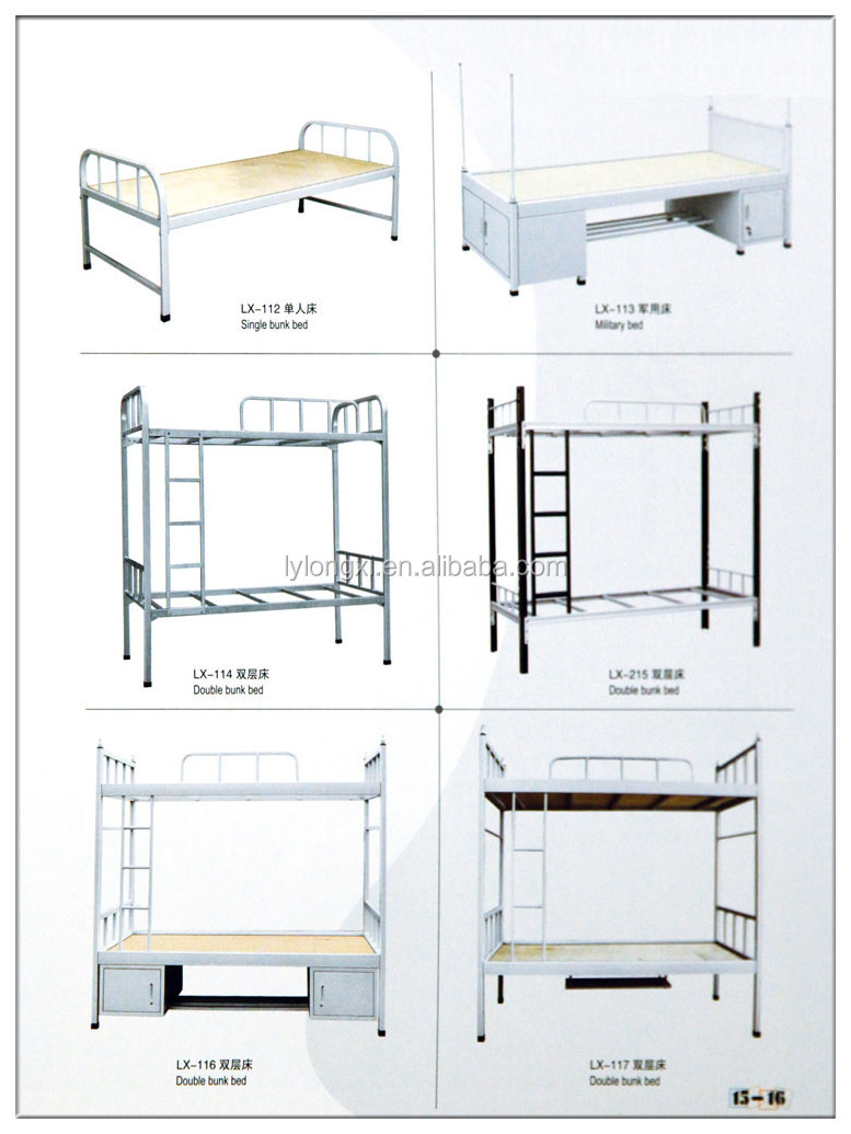 Metal Heavy Duty Adult Iron Steel Double Bunk bed military metal bunk bed, hotel bed, army bed