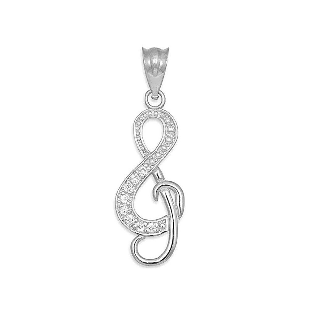 Clear Rhinestone Crystal G Treble Clef Symbol Music Note Charms Pendants For Crafting Jewelry Making Accessory