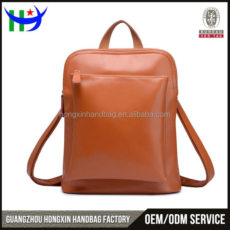 Brown Leather Material day backpacks offered from factory in Guangzhou