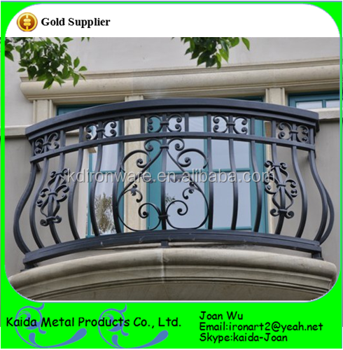 Wrought Iron Curved Balcony Railing For Sale