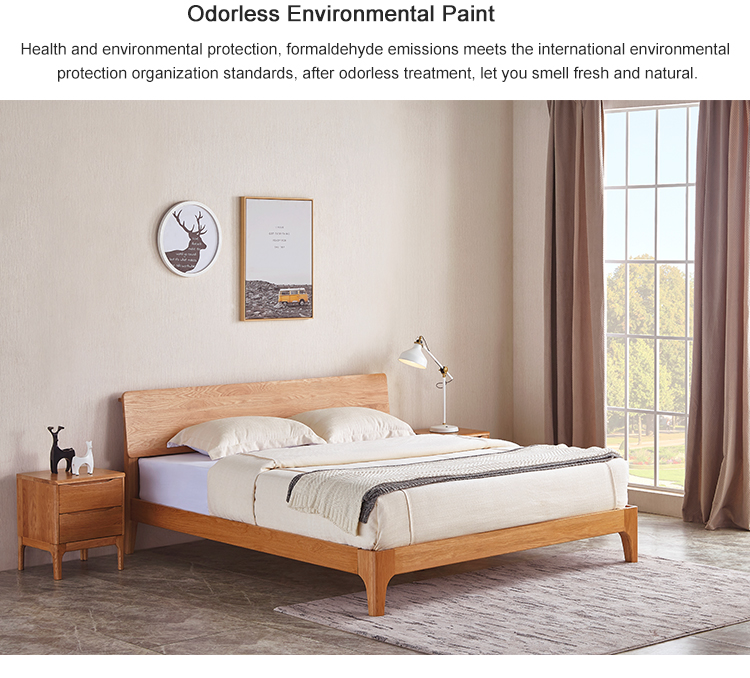 Nordic Style modern design  Rechargeable Bedside  oak Solid Wood Double Bedroom Set