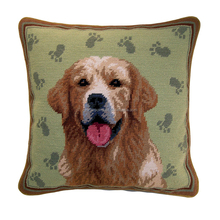 Custom Elegant Handmade Golden Retriever Decorative Needlepoint Cotton Pillow