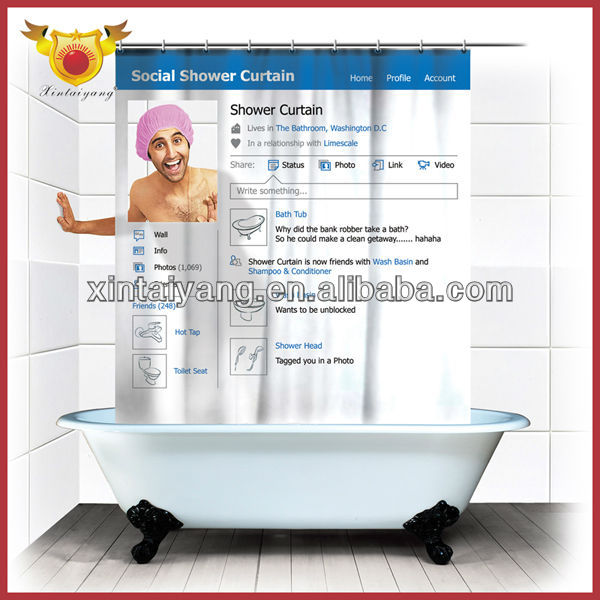 Social Bath Facebook Shower Curtain