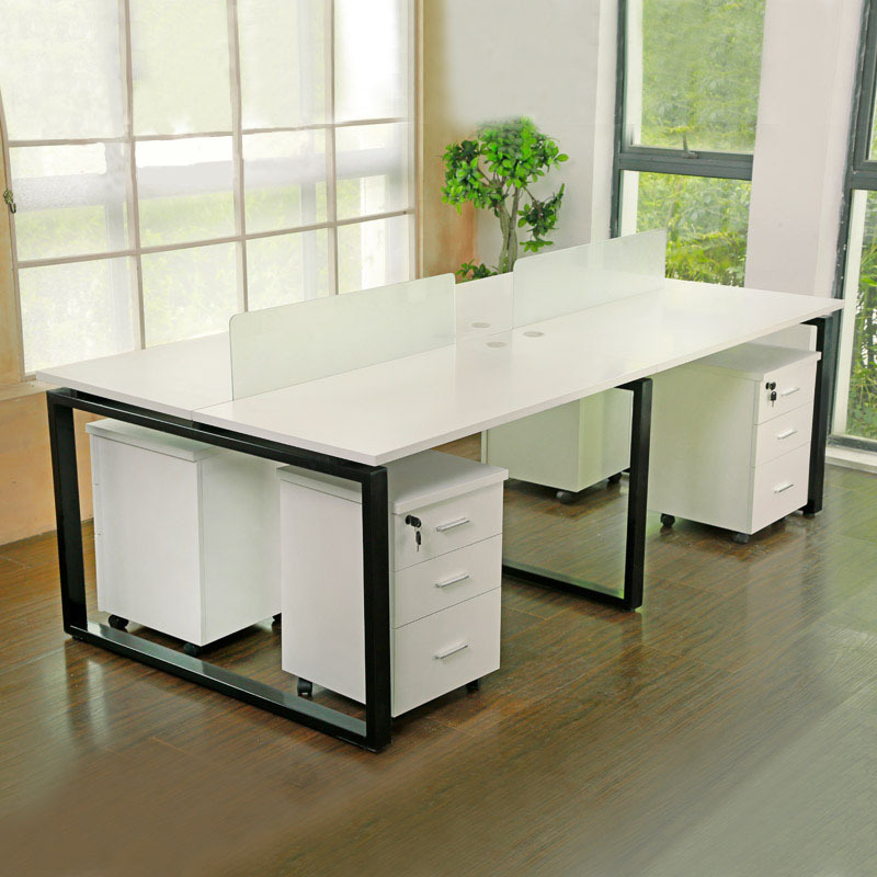 Office Workstation Wood And Stainless Steel Desk