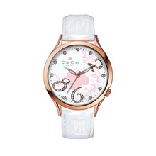 Rose gold case white color band lady watch small diamond flower dial stainless steel watch