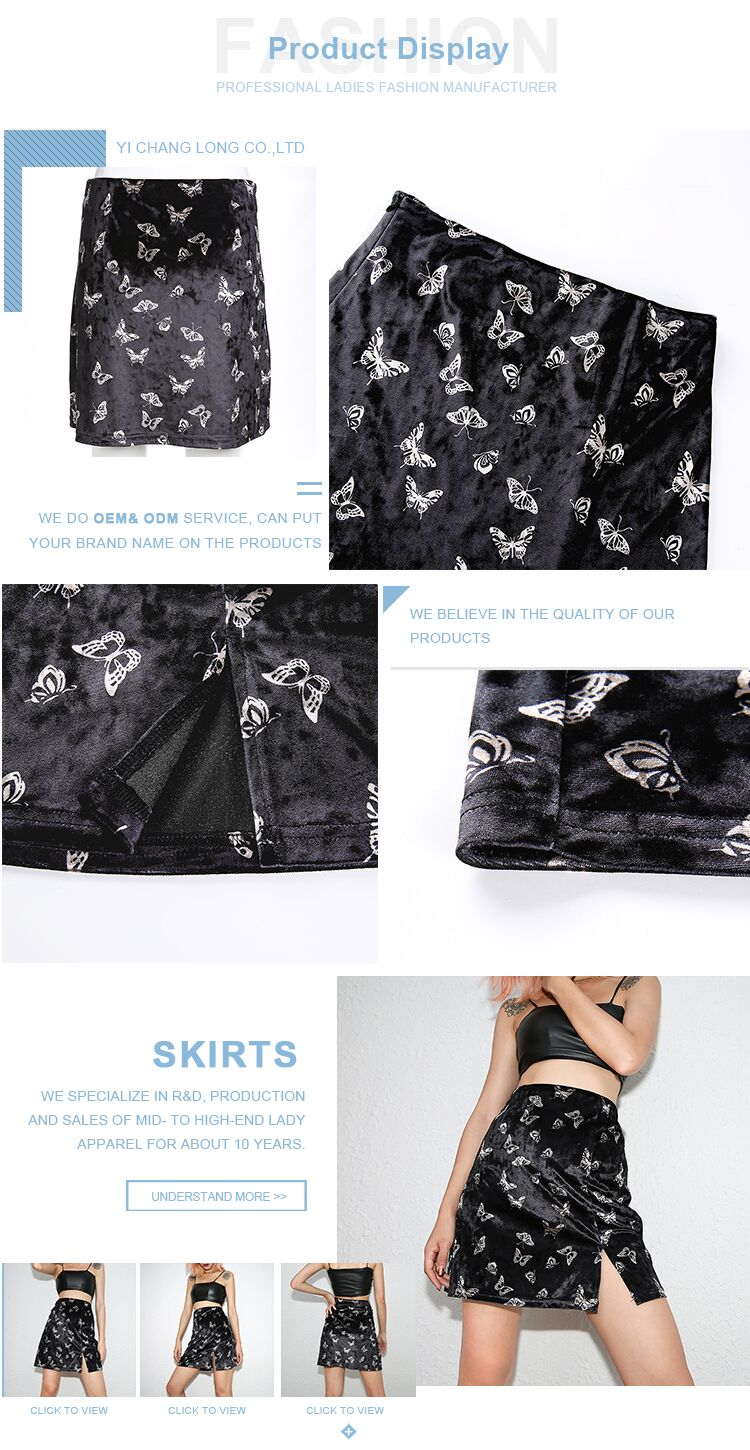 Factory Direct Wholesale OEM Sexy Women Skirt Ladies Black A Line Skirts