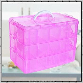 3 Layer Clear Pink Plastic Organiser Storage Hobby Craft Box