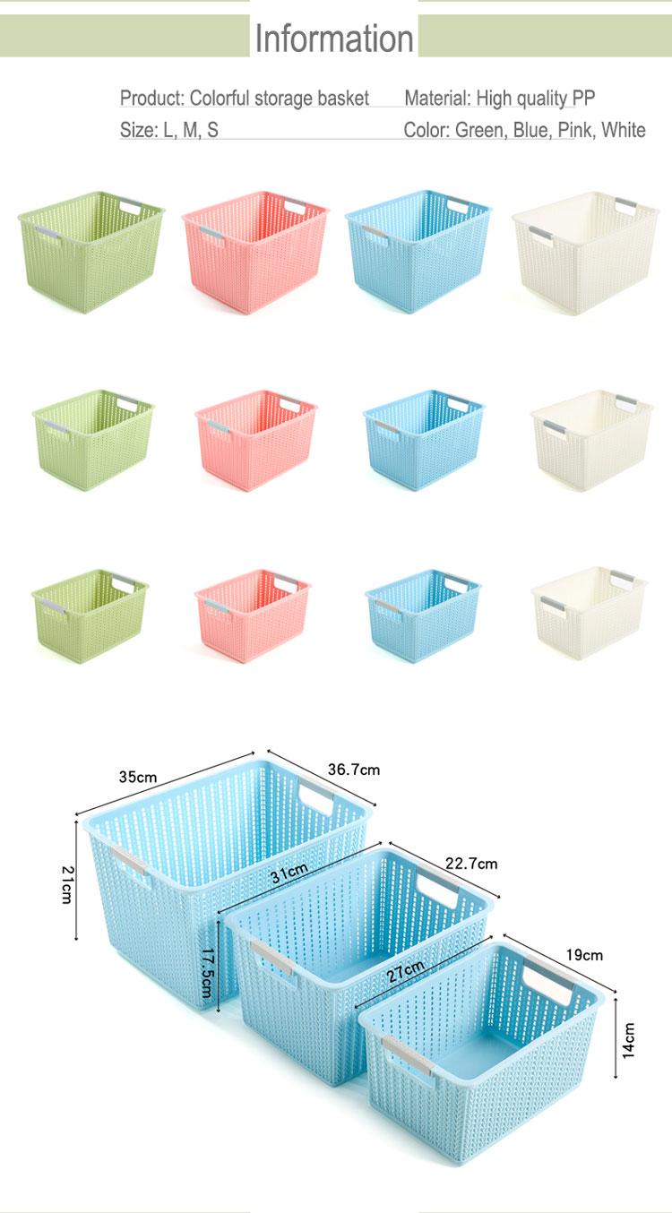 Hoge kwaliteit plastic voedsel grote capaciteit roze opslag container mand zonder deksel