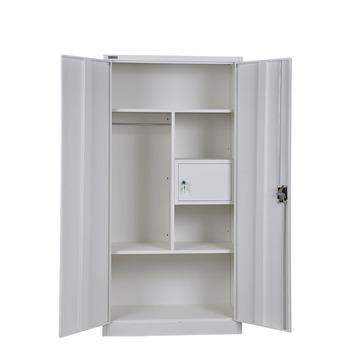 Modern Style 2 Door Steel Bedroom Wardrobe Locker Design With Inside Safe Drawer