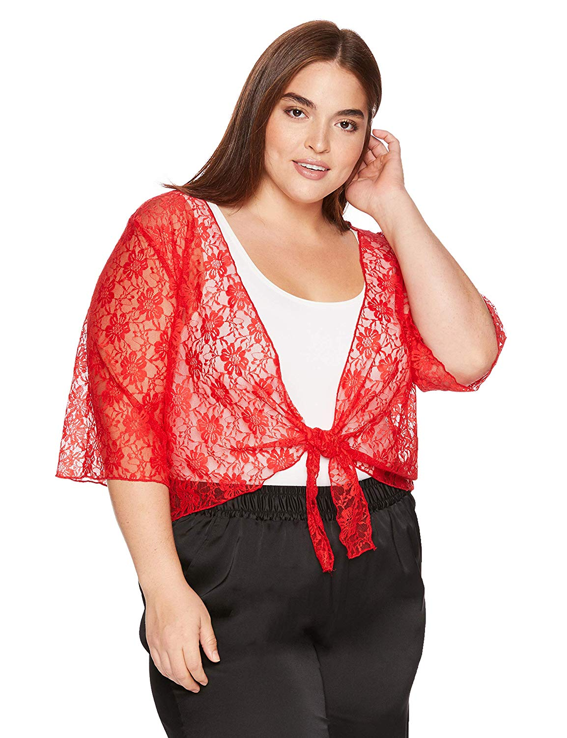 2092bd226712bb Get Quotations · Star Vixen Women's Plus-Size 3/4 Sleeve Stretch Lace  Tiefront Shrug Sweater