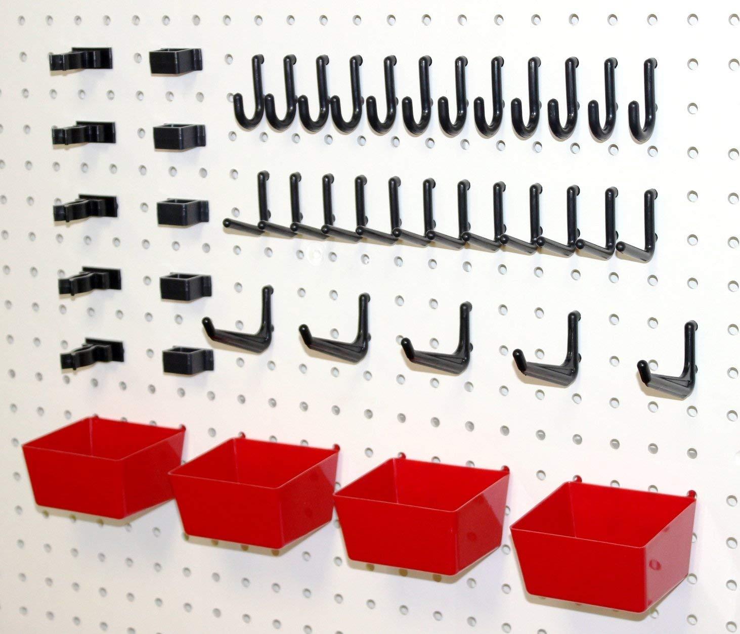 Wallpeg 43 Pc. Peg Hook Kit with Plastic Bins - Pegboard Hook Assortment Organizer R-B