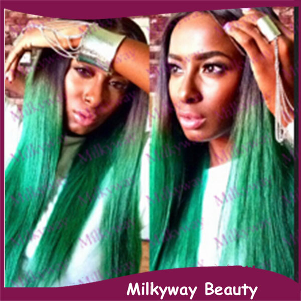 Milkyway straight turquoise ombre black to green two tone heat milkyway straight turquoise ombre black to green two tone heat resistant glueless synthetic lace front wig pmusecretfo Gallery