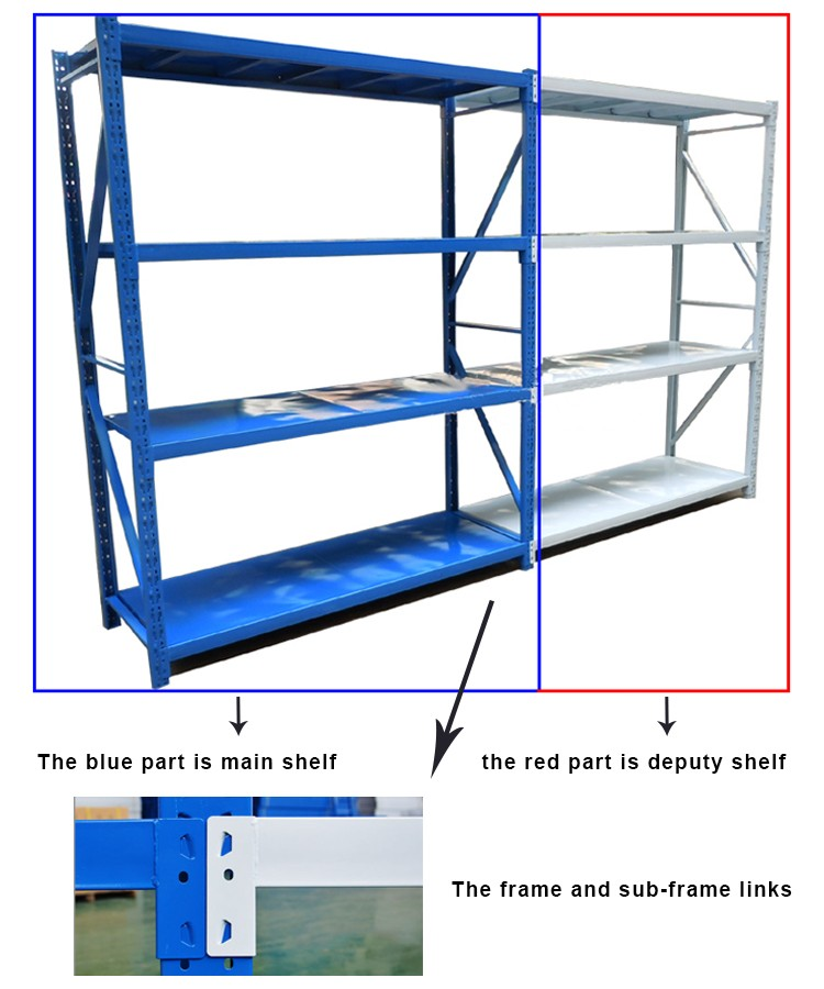 Warehouse cycle metal duty shelving dividers racking library book stand light weight steel angle iron rack