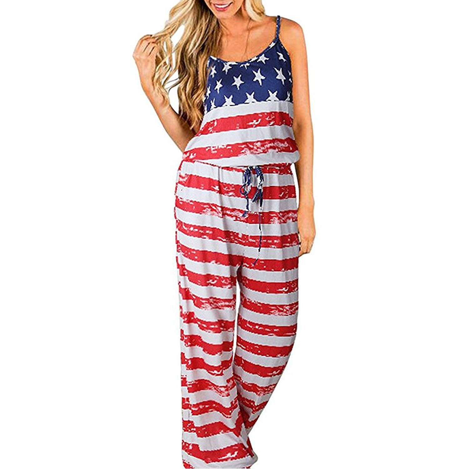6b22a8af4d97 Get Quotations · Happy GoGo 4th of July American Floral Printed Jumpsuit  Women Halter Sleeveless Wide Long Pants Jumpsuit