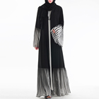 plus size women islamic clothing luxury trumpet cuff pleated abaya muslim dress