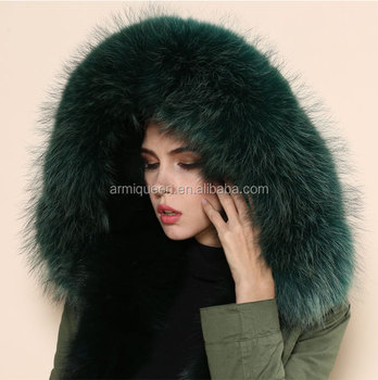 148f6ace26283 Long Army Green Faux Fur Trimmed Line Hooded Parka Coat