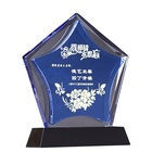 Low Price Pentagon Blue Award Plaques Crystal With Square Black Crystal Base