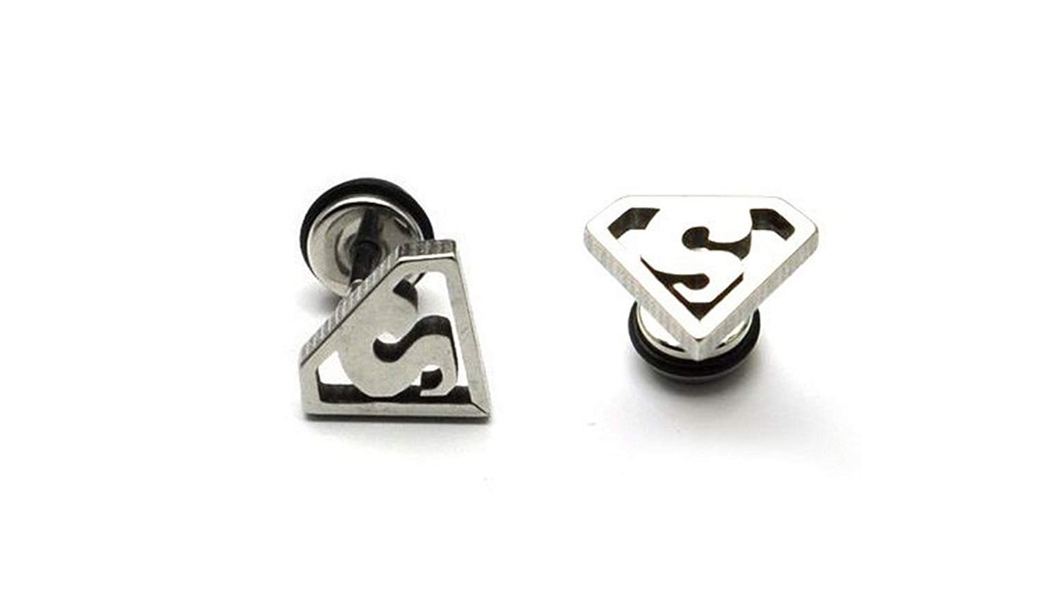 Earrings For Guys Cool Superman Anium Steel Punk Mens 12mm