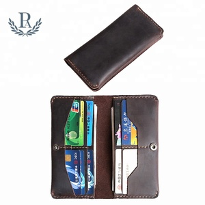 New style vintage crazy horse genuine leather long soft rfid travel mobile phone case card holder wallet