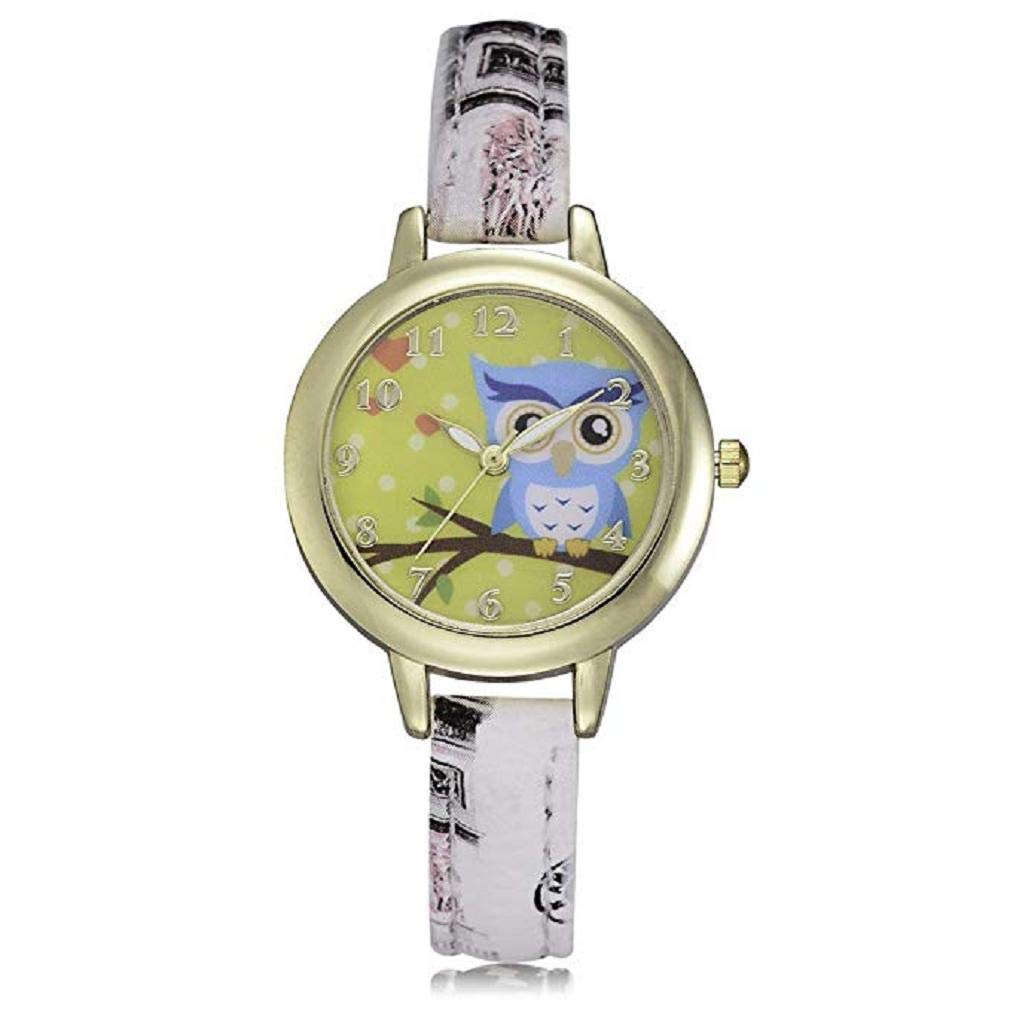 Womens Quartz Watches, Windoson Fashion Metal Retro Cartoon Owl Round Dial Quartz Analog Wrist Watch with Leather Band, Lady Watches Female Watches (White)