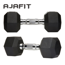 Gym Latihan Dumbbells Karet <span class=keywords><strong>Berat</strong></span> Stainless Steel Pipa Chrome <span class=keywords><strong>Dumbbell</strong></span>