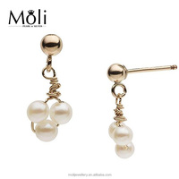 Gold Plated Sterling Silver 3-3.5mm Near Round White Freshwater Pearl Earrings