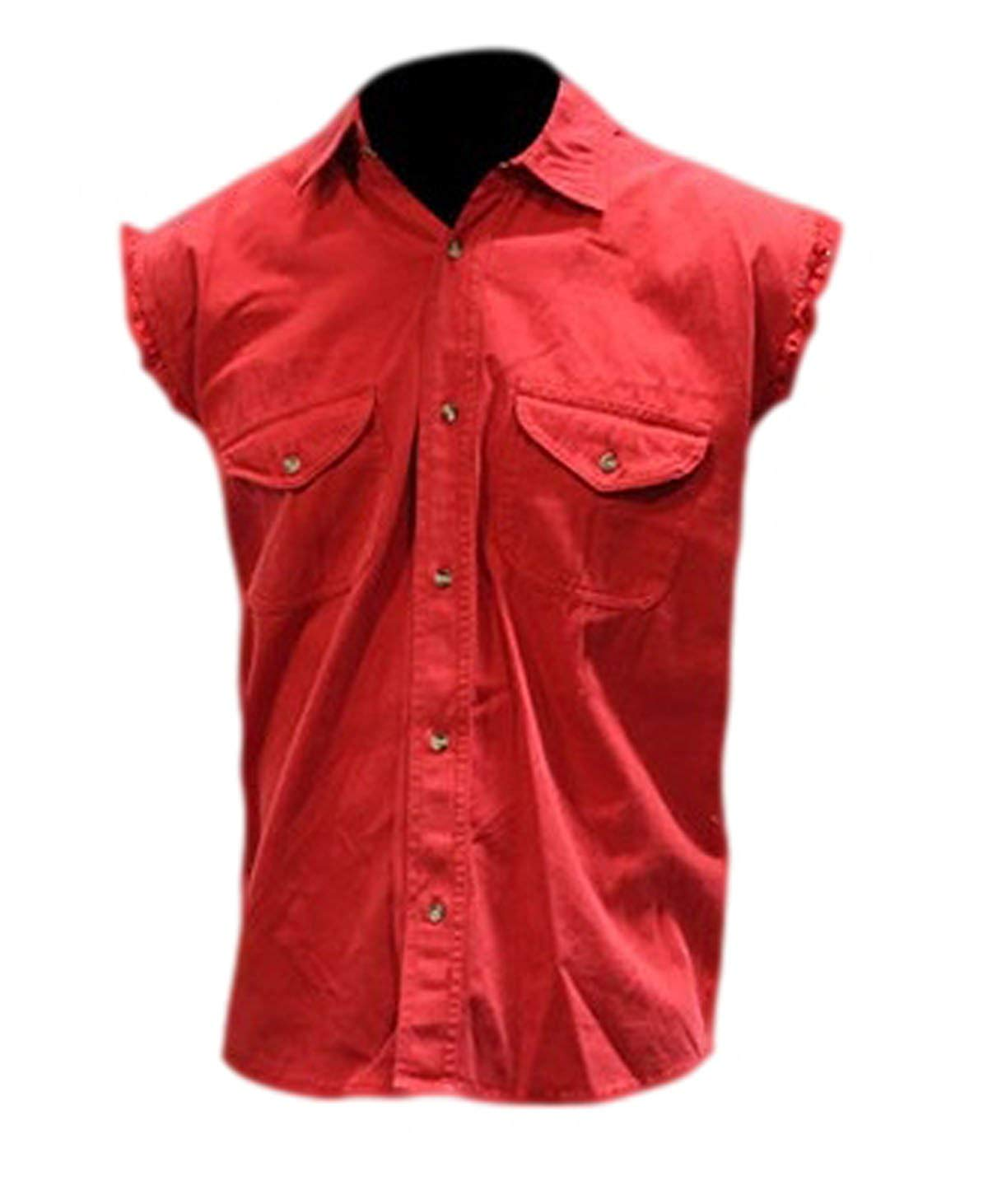 9a526f21f4 Get Quotations · CD D C Mens Cut Off Sleeveless Cotton Denim Button up Biker  Motorcycle Shirts