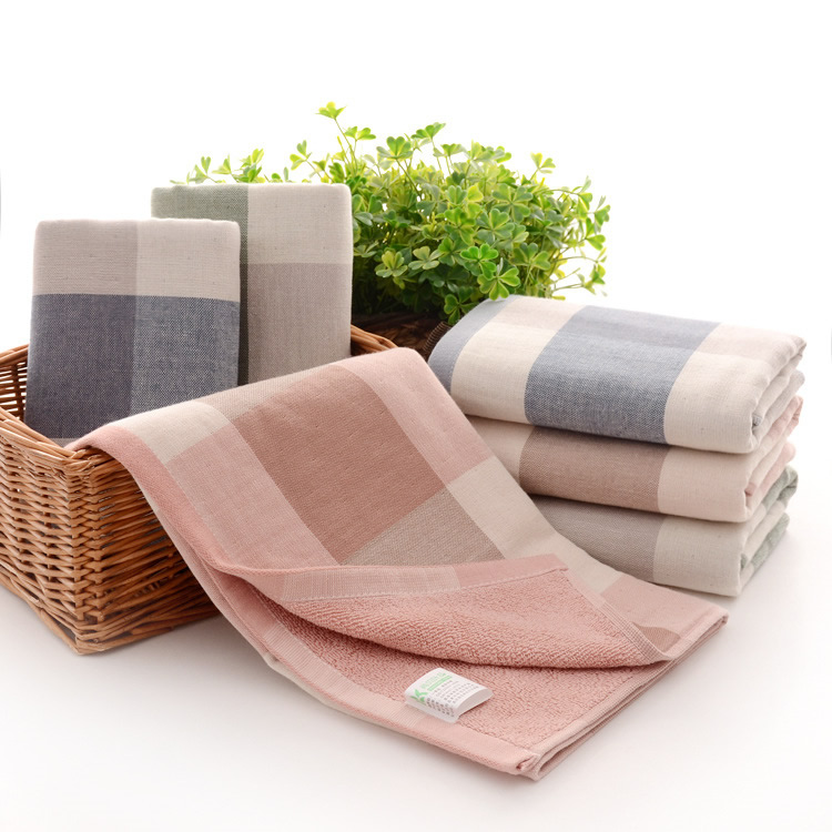 Soft gauze <strong>cotton</strong> thickening absorbent strong tartan towel Machine Washable Extra Large Bath Towel