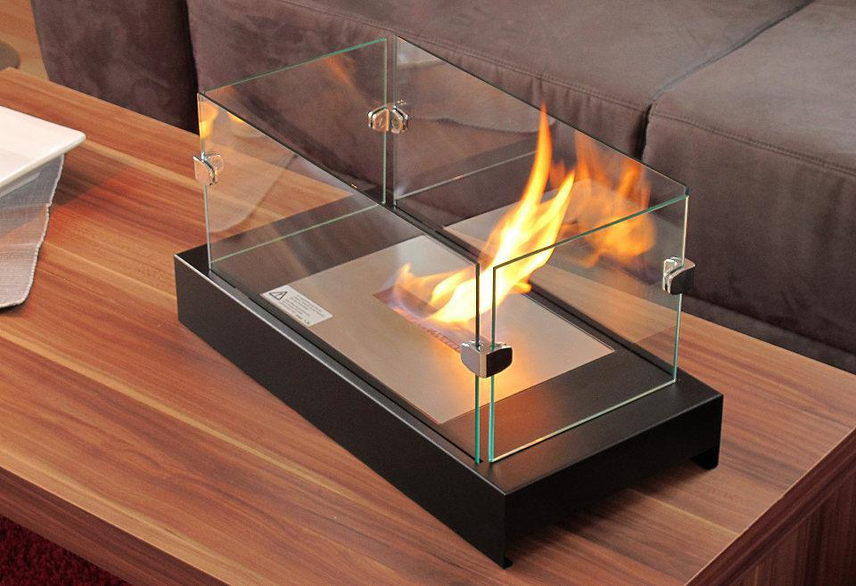2015 New Mini Round Ethanol Black Metalglass Table Fireplace In
