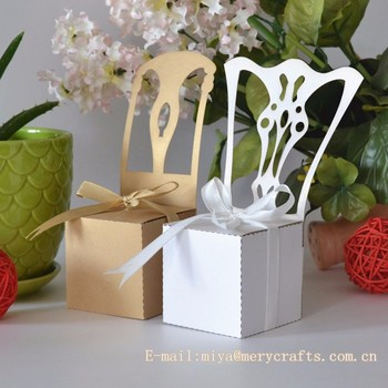 Light Brown White Wedding Favorslaser Cut Wedding Chair Boxes