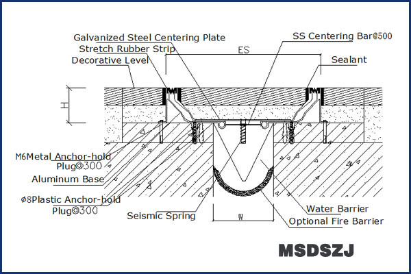 Expansion Joints Between Buildings : Flush rubber anti seismic galvanised steel expansion