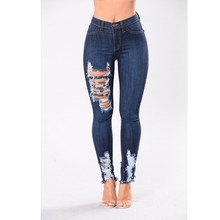 Groothandel Donkerblauw <span class=keywords><strong>Dames</strong></span> Jean Vrouwen Vernietigd <span class=keywords><strong>Skinny</strong></span> Denim <span class=keywords><strong>Jeans</strong></span> Hoge Taille Vrouwen <span class=keywords><strong>Broek</strong></span> A412