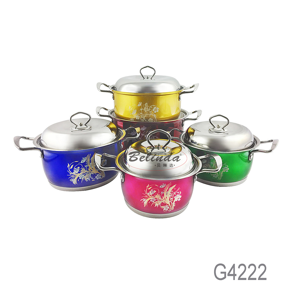 Wholesale Apple Shape Pot 10 Pcs Stainless Steel Induction Cookware Set with Flower Decals