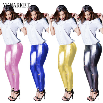 Nightclub Women Slashed Split Knee Leggings Sexy Patent Leather Shiny Skinny Pants High Street Wear EPH168072