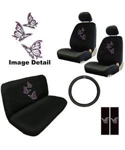 11PC Purple Butterfly Auto Accessories Interior Combo Kit Gift Set