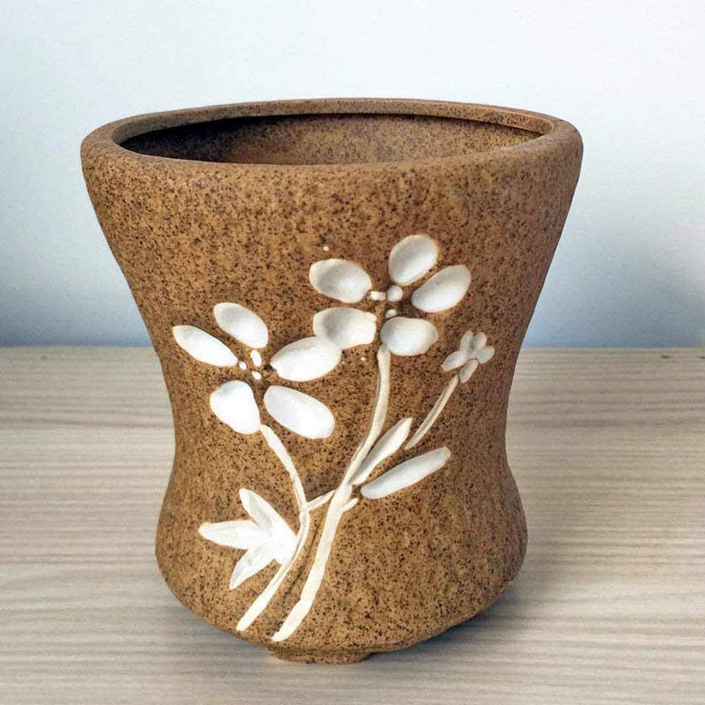 Better-Way Round Ceramic Orchid Flower Planter Vintage Flower Pot Succulent Plant Container Decorative Indoor Vase (Bowl Shape) (Brown)