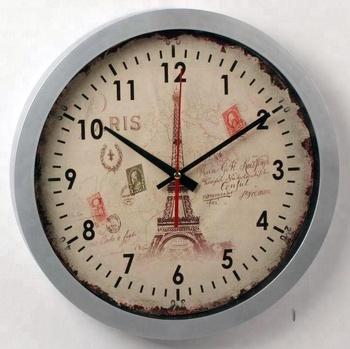 Old School Vintage Paris Tour Eiffel Tower Decorative Silvery Plastic Wall Clock