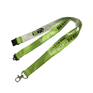 glossy dye sublimation green color eco friendly rpet lanyards with custom logo