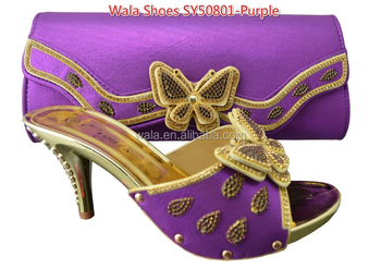 1a0bde0f262d italy purple sandals shoes slippers and matching bag for lady SY50801-4